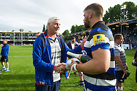 Bath Director of Rugby Todd Blackadder speaks with Man of the Match Dave Attwood. Aviva Premiership match, between Bath Rugby and Newcastle Falcons on September 10, 2016 at the Recreation Ground in Bath, England. Photo by: Patrick Khachfe / Onside Images