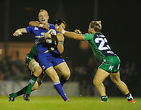 19th September 2014; <br /> Leinster's Darragh Fanning is tackled by Quinn Roux and <br /> Fionn Carr of Connacht<br /> Guinness PRO12, Connacht v Leinster . <br /> The Sportsground, Galway. <br /> Picture credit: Tommy Grealy/actionshots.ie