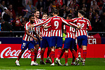 Players of Atletico de Madrid celebrate goal during the La Liga match between Atletico de Madrid and Athletic Club de Bilbao at Wanda Metropolitano Stadium in Madrid, Spain. October 26, 2019. (ALTERPHOTOS/A. Perez Meca)