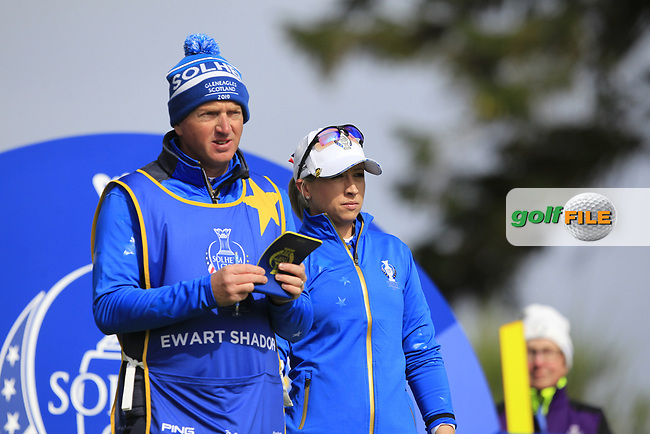 Jodi Ewart Shadoff (EUR) on the 2nd tee during Day 3 Singles at the Solheim Cup 2019, Gleneagles Golf CLub, Auchterarder, Perthshire, Scotland. 15/09/2019.<br /> Picture Thos Caffrey / Golffile.ie<br /> <br /> All photo usage must carry mandatory copyright credit (© Golffile   Thos Caffrey)