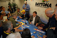 Feb 14, 2007; Daytona, FL, USA; Nascar Nextel Cup officials Jim Hunter and Robin Pemberton discuss penalties accessed to the team of Michael Waltrip (55) during practice for the Daytona 500 at Daytona International Speedway. Mandatory Credit: Mark J. Rebilas
