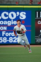 Palm Beach Cardinals left fielder Casey Turgeon (29) tracks a fly ball during a game against the Clearwater Threshers on April 14, 2017 at Spectrum Field in Clearwater, Florida.  Clearwater defeated Palm Beach 6-2.  (Mike Janes/Four Seam Images)