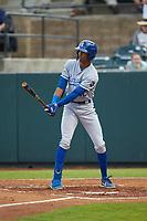 Burle Dixon (12) of the Burlington Royals at bat against the Pulaski Yankees at Calfee Park on September 1, 2019 in Pulaski, Virginia. The Royals defeated the Yankees 5-4 in 17 innings. (Brian Westerholt/Four Seam Images)
