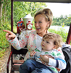 TV'3's Sybil Mulcahy and her son Hugh (2) pictured aboard the Western Express Choo-Choo train as part of Destination Westport Family Day at Westport House in County Mayo at the weekend when thousands of families gathered for a free adventure afternoon in the grounds of ther famous house.<br />