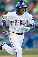 Round Rock Express outfielder Endy Chavez runs to first against the Omaha Storm Chasers in Pacific Coast League baseball on Monday April 11th, 2011 at Dell Diamond in Round Rock Texas.  (Photo by Andrew Woolley / Four Seam Images)