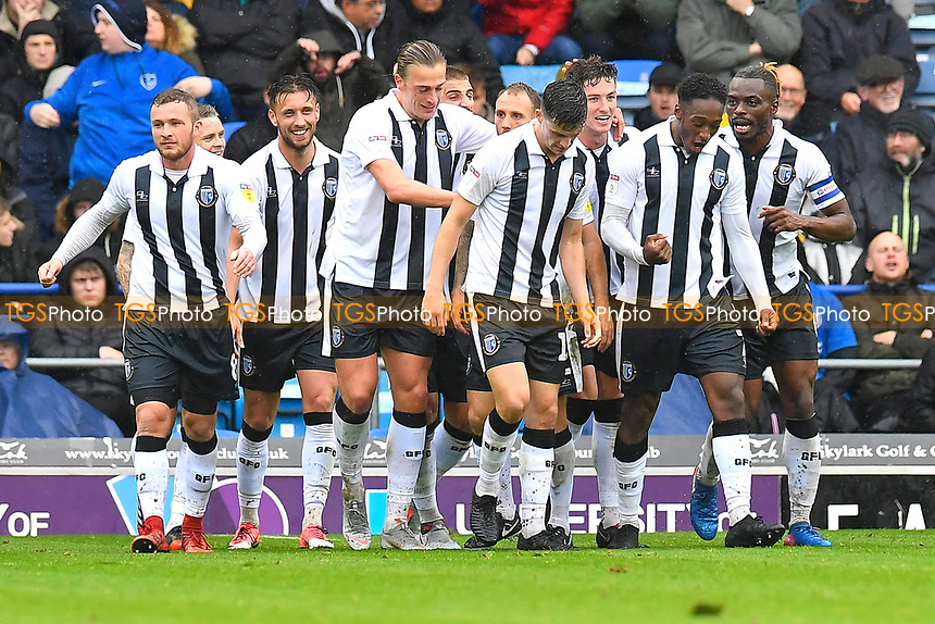 Alex Lacey of Gillingham (3R) is congratulated after scoring the second goal during Portsmouth vs Gillingham, Sky Bet EFL League 1 Football at Fratton Park on 6th October 2018