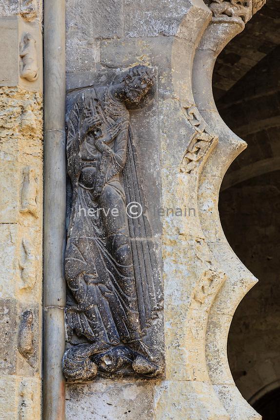 France, Tarn-et-Garonne (82), Moissac, abbaye Saint-Pierre, classé patrimoine mondial de l'UNESCO, le portail sud de l'église, détail // France, Tarn et Garonne, Moissac, Saint Pierre Abbey, listed as World Heritage by UNESCO, south Portal, detail