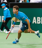 Rotterdam, The Netherlands. 13.02.2014. Dominic Thiem(OOS) at the ABN AMRO World tennis Tournament<br /> Photo:Tennisimages/Henk Koster