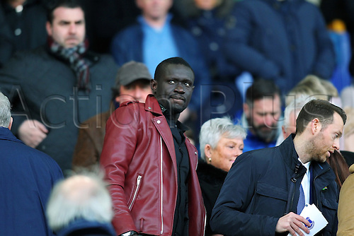 13.02.2016. Goodison Park, Liverpool, England. Barclays Premier League. Evertons Deadline Day signing striker Oumar Niasse from Lokomotiv Moscow takes his place in the Directors box. Roberto Martinez paid £13.5m for the 25-year-old, who can also play out wide and takes a place in the squad vacated by Steven Naismith earlier in the window.