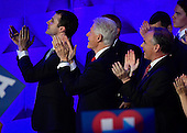 Marc Mezvinsky, former United States President Bill Clinton and US Senator Tim Kaine (Democrat of Virginia) applauds Chelsea Clinton as she completes her introduction of her mother during the fourth session of the 2016 Democratic National Convention at the Wells Fargo Center in Philadelphia, Pennsylvania on Thursday, July 28, 2016.<br /> Credit: Ron Sachs / CNP<br /> (RESTRICTION: NO New York or New Jersey Newspapers or newspapers within a 75 mile radius of New York City)