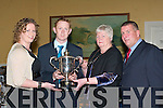 Colm Cooper receives the Tim O'Mara Dr Crokes Player of the Year memorial trophy from l-r: Sinead O'Mara, Enda O'Mara and Patrick O'Sullivan (Dr Crokes Chairman).   Copyright Kerry's Eye 2008