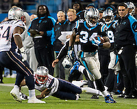 The Carolina Panthers play the New England Patriots at Bank of America Stadium in Charlotte North Carolina on Monday Night Football.  The Panthers defeated the Patriots 24-20.  Carolina Panthers running back DeAngelo Williams (34)
