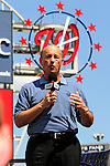 21 August 2009: Washington Nationals' President Stan Kasten answers questions by the media after introducing Stephen Stausberg to the media during a televised event at Nationals Park in Washington, DC. The Nationals agreed to terms with Strasburg, the 2009 number one overall pick in this years' MLB Draft, with fewer than two minutes before the signing deadline. Mandatory Credit: Ed Wolfstein Photo