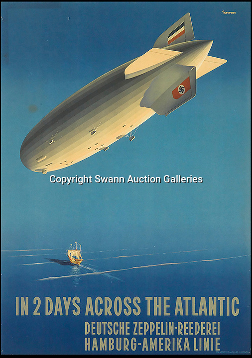 BNPS.co.uk (01202 558833)<br /> Pic: SwannGalleries/BNPS<br /> <br /> ***Please Use Full Byline***<br /> <br /> Zepplin across the Atlantic from 1936 - &pound;3250<br /> <br /> Beautiful posters from the halcyon days of travel up for auction.<br /> <br /> Scarce vintage travel posters promoting holidays across the globe in the 1920's and 30's are tipped to sell for over &pound;200,000 .<br /> <br /> The fine collection of 200 works of art that hark back to the halcyon days of train and boat travel have been brought together for sale.<br /> <br /> The posters were used to advertise dream holiday destinations in far-flung places such as the US and Australia and to celebrate the luxurious ways of getting to them.<br /> <br /> Most of the advertising posters date back to the 1930s and are Art Deco in style and they are all from the original print-run.