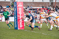 Picture by Allan McKenzie/SWpix.com - 25/03/2018 - Rugby League - Betfred Championship - Batley Bulldogs v Featherstone Rovers - Heritage Road, Batley, England - Featherstone's James Lockwood crosses the goal line to score a try against Batley
