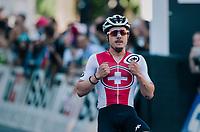 Marc Hirschi (SUI) is the new U23 World Champion<br /> <br /> MEN UNDER 23 ROAD RACE<br /> Kufstein to Innsbruck: 180 km<br /> <br /> UCI 2018 Road World Championships<br /> Innsbruck - Tirol / Austria