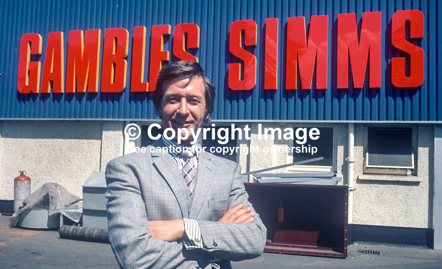 Peter Simms, managing director, Gambles Simms, steel stockholders, Lisburn, Co Antrim, N Ireland, UK, July 1974, 197407020372PS1<br /> <br /> Copyright Image from Victor Patterson, 54 Dorchester Park, Belfast, UK, BT9 6RJ<br /> <br /> Tel: +44 28 9066 1296<br /> Mob: +44 7802 353836<br /> Voicemail +44 20 8816 7153<br /> Email: victorpatterson@me.com<br /> Email: victorpatterson@gmail.com<br /> <br /> IMPORTANT: My Terms and Conditions of Business are at www.victorpatterson.com