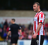 Lincoln City's Matt Rhead<br /> <br /> Photographer Andrew Vaughan/CameraSport<br /> <br /> The EFL Sky Bet League Two Play Off First Leg - Lincoln City v Exeter City - Saturday 12th May 2018 - Sincil Bank - Lincoln<br /> <br /> World Copyright &copy; 2018 CameraSport. All rights reserved. 43 Linden Ave. Countesthorpe. Leicester. England. LE8 5PG - Tel: +44 (0) 116 277 4147 - admin@camerasport.com - www.camerasport.com