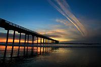 March 10, 2016 - San Diego, California, USA- The sun sets behind the Scripps Pier at La Jolla Shores beach in San Diego, California.  (Photo Credit: © K.C. ALFRED/ZUMA PRESS)