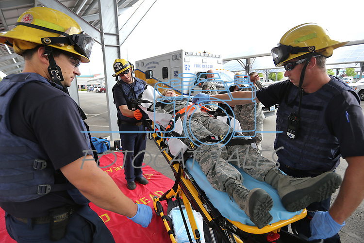 Emergency crews respond to an active shooter drill at the Adjutant General complex in Carson City, Nev., on Wednesday, July 22, 2015. Nevada National Guard, Carson City Sheriff and Fire departments and Nevada Division of Emergency Management were all part of the exercise. <br /> Photo by Cathleen Allison