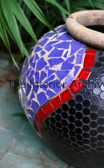 Detail of mosaic garden pot created by artist Debra Yates