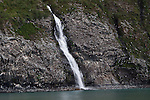 Waterfall divides a Kittiwake rookery in Whittier, Alaska