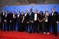 After winning the Golden Globe for BEST MOTION PICTURE &ndash; COMEDY OR MUSICAL for &quot;Green Book&quot;, John Sloss, Jonathan King, Kwame Parker, Brian Currie, Viggo Mortensen, Linda Cardellini, Jim Burke, Mahershala Ali, Peter Farrelly, Octavia Spencer, Charles B. Wessler, Nick Vallelonga pose with the award backstage in the press room at the 76th Annual Golden Globe Awards at the Beverly Hilton in Beverly Hills, CA on Sunday, January 6, 2019.<br /> *Editorial Use Only*<br /> CAP/PLF/HFPA<br /> Image supplied by Capital Pictures