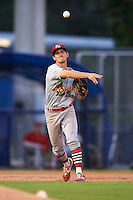 Palm Beach Cardinals third baseman Danny Diekroeger (4) throws to first during the second game of a doubleheader against the Dunedin Blue Jays on July 31, 2015 at Florida Auto Exchange Stadium in Dunedin, Florida.  Dunedin defeated Palm Beach 4-0.  (Mike Janes/Four Seam Images)