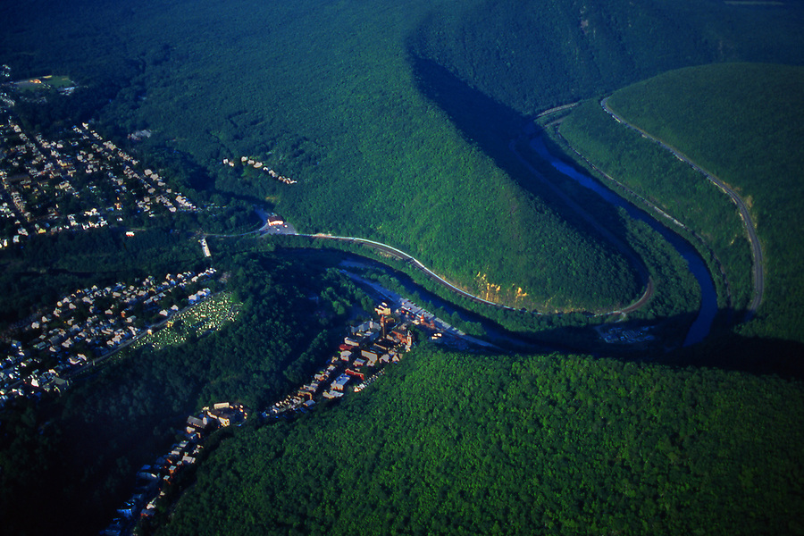 Aerial of Jim Thorpe town and the Lehigh River and Gorge, PA