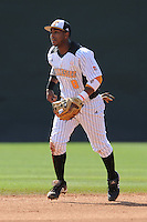 Khayyan Norfork #8 of the Tennessee Volunteers breaks to make a play at Lindsey Nelson Stadium against the the Manhattan Jaspers on March 12, 2011 in Knoxville, Tennessee.  Tennessee won the first game of the double header 11-5.  Photo by Tony Farlow / Four Seam Images..