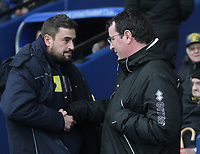 Blackpool's Manager Gary Bowyer  greets Oxford United's Manager Pep Clotet<br /> <br /> Photographer Mick Walker/CameraSport<br /> <br /> The EFL Sky Bet League One - Rochdale v Blackpool - Monday 1st January 2018 - Spotland Stadium - Rochdale<br /> <br /> World Copyright &copy; 2018 CameraSport. All rights reserved. 43 Linden Ave. Countesthorpe. Leicester. England. LE8 5PG - Tel: +44 (0) 116 277 4147 - admin@camerasport.com - www.camerasport.com