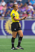 Orlando, FL - Sunday June 26, 2016: Referee, Ekaterina Koroleva  during a regular season National Women's Soccer League (NWSL) match between the Orlando Pride and the Portland Thorns FC at Camping World Stadium.