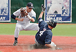March 30, 2012:   Nevada Wolf Pack shortstop Garrett Yrigoyen takes the throw as  BYU Cougars Jaycob Brugman is tagged out attempting to steal second during their NCAA baseball game played at Peccole Park on Friday afternoon in Reno, Nevada.