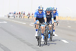 The breakaway, Sam Brand (GBR) and Charles Planet (FRA) of Team Novo Nordisk with Igor Boev and Stepan Kuriyanov (RUS) of Gazpom-Rusvelo, in action during Stage 2 of the 2019 UAE Tour, running 184km form Yas Island Yas Mall to Abu Dhabi Breakwater Big Flag, Abu Dhabi, United Arab Emirates. 25th February 2019.<br /> Picture: LaPresse/Fabio Ferrari | Cyclefile<br /> <br /> <br /> All photos usage must carry mandatory copyright credit (© Cyclefile | LaPresse/Fabio Ferrari)