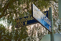 Mulholland Drive, Desmond Estates, Street Sign, Architectural, Signage, Way finding Systems, stamped out of metal, lettering embossed, printed,