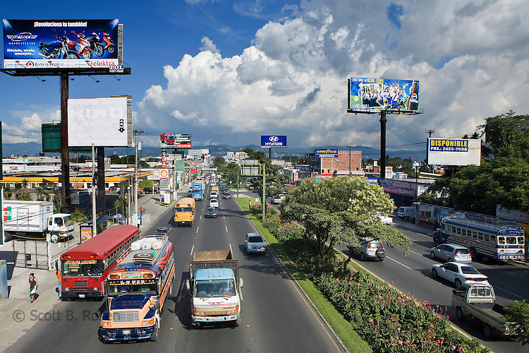Calzada San Juan with traffic in Zone 11, Guatemala City, Guatemala