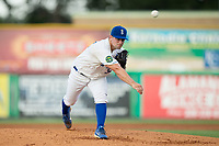 Burlington Royals pitcher Sal Biasi (32) delivers a pitch to the plate against the Danville Braves at Burlington Athletic Stadium on August 12, 2017 in Burlington, North Carolina.  The Braves defeated the Royals 5-3.  (Brian Westerholt/Four Seam Images)