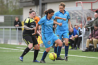 20190427 - Waregem , BELGIUM : Tatjana Ryckewaert (L) with Sarah Verschaeve (R) and Lien Alleman (M)   pictured during the final of the Beker van West-Vlaanderen 2019 , a soccer women game between SV Bredene and Famkes Westhoek Diksmuide Merkem B  , in the  Mirakelstadion in Waregem , Satuday 27 th April 2019 . PHOTO SPORTPIX.BE | DIRK VUYLSTEKE
