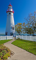 Marblehead Lighthouse State Park, OH<br /> Sidewalk from the Lighthouse Keeper's house leads to Marblehead Lighthouse (1819) on Lake Erie, oldest lighthouse in continuous operatoin on the Great Lakes