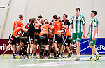 Stockholm 2014-11-08 Handboll Elitserien Hammarby IF - IFK Kristianstad :  <br /> Kristianstads spelare jublar efter matchen mellan Hammarby IF och IFK Kristianstad med Hammarbys Patrik Lindblad och Johan Nilsson deppar<br /> (Foto: Kenta J&ouml;nsson) Nyckelord:  Eriksdalshallen Hammarby HIF HeIF Bajen IFK Kristianstad jubel gl&auml;dje lycka glad happy depp besviken besvikelse sorg ledsen deppig nedst&auml;md uppgiven sad disappointment disappointed dejected