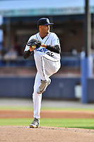 Asheville Tourists starting pitcher Eris Filpo (32) delivers a pitch during a game against the Lexington Legends at McCormick Field on August 2, 2019 in Asheville, North Carolina. The Tourists defeated the Legends 7-2. (Tony Farlow/Four Seam Images)