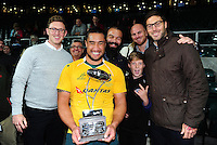 Leroy Houston of Australia poses for a photo with Bath Rugby team-mates Kane Palma-Newport, Matt Garvey and Matt Banahan and other supporters on the occasion of his debut cap for the Wallabies. The Rugby Championship match between Argentina and Australia on October 8, 2016 at Twickenham Stadium in London, England. Photo by: Patrick Khachfe / Onside Images