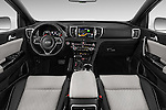 Stock photo of straight dashboard view of 2016 KIA Sportage GT-Line 5 Door Suv Dashboard
