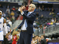 Washington, DC - March 11, 2018: Rhode Island Rams head coach Dan Hurley calls a play during the Atlantic 10 championship game between Rhode Island and Davidson at  Capital One Arena in Washington, DC.   (Photo by Elliott Brown/Media Images International)