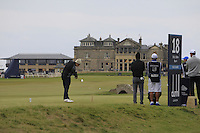 Florian Fritsch (GER) tees off on the 18th the 2015 Alfred Dunhill Links Championship at the Old Course in St. Andrews in Scotland on 4/10/15.<br />