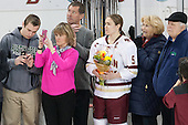 Checking out the new Patty Kaz banner - Brendan, Julie and Bobby Carpenter, Alex Carpenter (BC - 5), ?, ? - The Boston College Eagles defeated the visiting Providence College Friars 7-1 on Friday, February 19, 2016, at Kelley Rink in Conte Forum in Boston, Massachusetts.