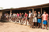 Pará State, Brazil. Kayapó students of the Komomoyea Kovoero Indigenous Secondary School in the Aldeia Indigena Kuxonety Pokee, a Terena village in the Gleba Iriri Indigenous Territory  Xingu.