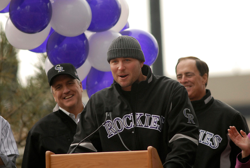 Colorado Rockies player Matt Holliday and Colorado Governor Bill Ritter (left) during an event to celebrate the Rockies 2007 season in downtown Denver.