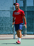 SURPRISE, AZ - MAY 12: Daniel Ventura of the Barry Buccaneer reacts to winning a set against Matei Avram of the Columbus State during the Division II Men's Tennis Championship held at the Surprise Tennis & Racquet Club on May 12, 2018 in Surprise, Arizona. (Photo by Jack Dempsey/NCAA Photos via Getty Images)
