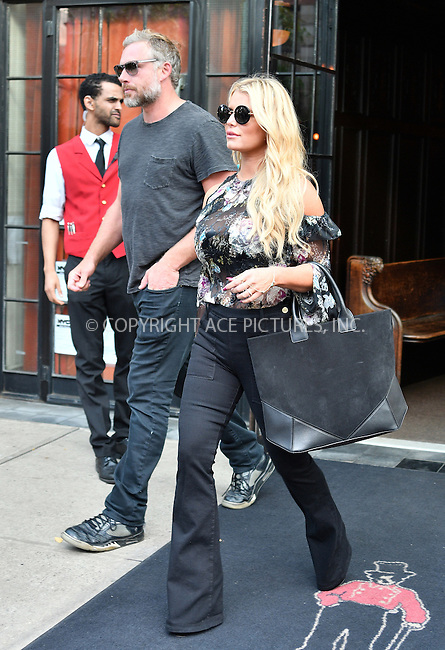www.acepixs.com<br /> <br /> September 21 2016, New York City<br /> <br /> Jessica Simpson and Eric Johnson leave a downtown hotel on September 21 2016 in New York City<br /> <br /> By Line: Curtis Means/ACE Pictures<br /> <br /> <br /> ACE Pictures Inc<br /> Tel: 6467670430<br /> Email: info@acepixs.com<br /> www.acepixs.com